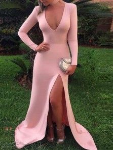 Stylish Mermaid V Neck Long Sleeve Pink Satin Slit Long Prom Dresses,Evening Party Dresses