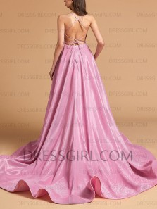 Pretty A-Line Scoop Neck Cross Back Pink Sparkly Satin Long Prom Dresses with Split Pockets,Evening Party Dresses
