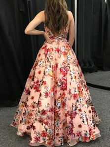 Modest A-Line V Neck Spaghetti Straps Floral Printed Prom Dresses,Fashion Graduation Dresses