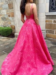 Marvelous A-Line V Neck Spaghetti Straps Cross Back Rose Red Satin Long Prom Evening Dresses with Pockets