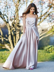 Elegant A-Line Halter Open Back Light Champagne Satin Long Prom Dresses with Pockets,Evening Party Dresses