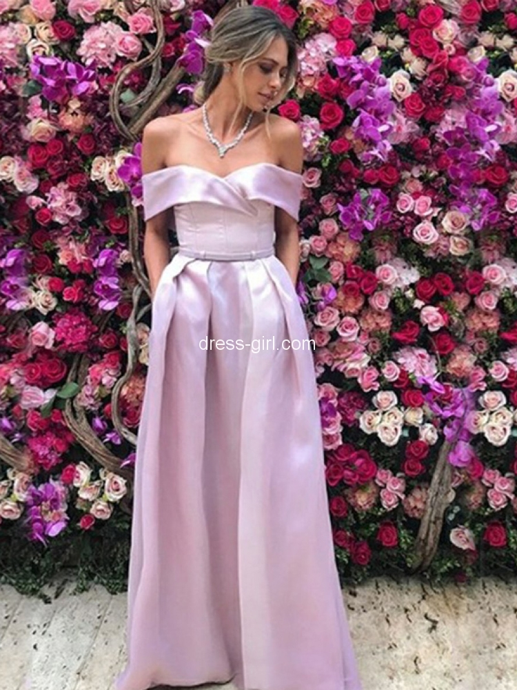 739c95dd54c Charming A-Line Off the Shoulder Lavender Satin Long Prom Dresses with  Pockets