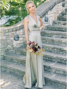 Simple A-Line V-Neck Sleeveless Long Satin Spring Bridesmaid Dress Under 100