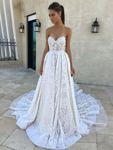 Romantic A-Line Sweetheart Open Back Ivory Lace Wedding Dresses,Bridal Gown