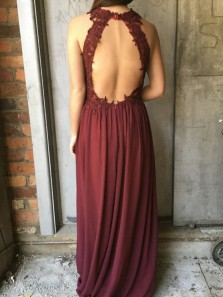 Elegant A-Line Halter Backless Burgundy Chiffon Long Prom Dresses with Appliques,Formal Party Dresses