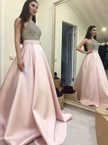 Charming A-Line Round Neck Open Back Pink Satin Long Prom Dresses with Beading,Evening Party Dresses