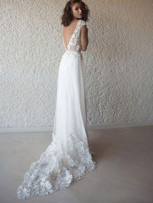 Romantic A-Line V Neck Cap Sleeve Open Back White Wedding Dresses with Appliques