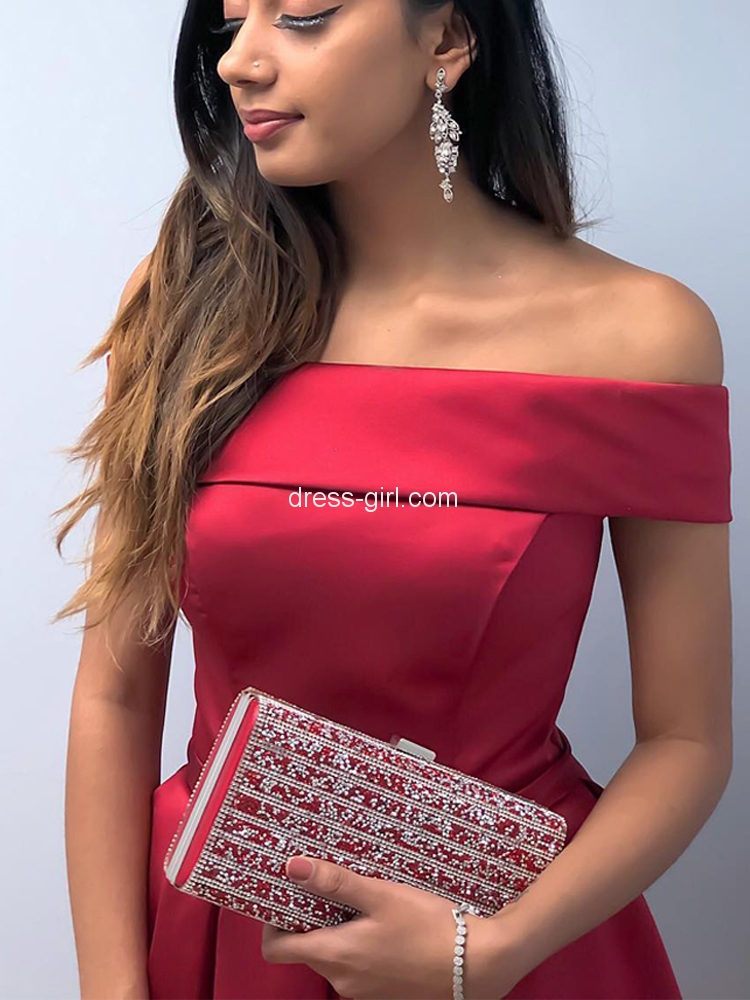 df29930866ac Sweet A-Line Off the Shoulder Open Back Red Satin Short Homecoming Dresses  with Bow,Short Prom Dresses Under 100 | Dress-girl.com