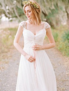 Charming A-Line V Neck Cap Sleeve Open Back White Chiffon Long Wedding Dresses,Beach Wedding Dresses