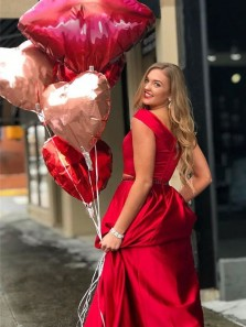 Charming A-Line Off the Shoulder Red Satin Long Prom Dresses with Beaded,Modest Evening Party Dresses