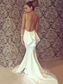 Sexy Mermaid Round Neck Backless White Elastic Satin Long Prom Dresses,Charming Evening Party Dresses