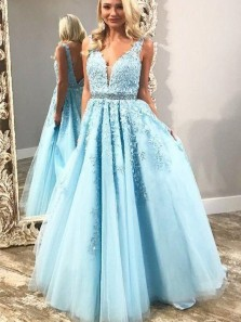 Charming A-Line V Neck Open Back Blue Yellow Tulle Long Prom Dresses with Appliques,Sweet 16 Party Dresses,Formal Evening Party Dresses