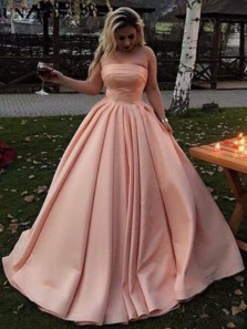 Charming Ball Gown Strapless Open Back Pink Satin Long Prom Dresses with Pockets,Quinceanera Dresses