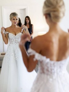 Hottest A-Line Sweetheart White Tulle Lace Wedding Dresses