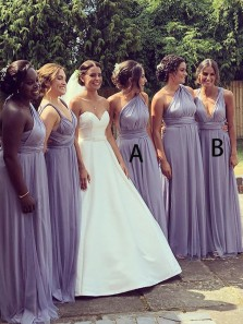 Simple A-Line Deep V Neck Open Back Lavender Chiffon Long Bridesmaid Dresses
