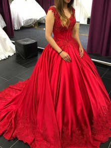 Charming Ball Gown V Neck Open Back Red Satin Long Prom Dresses with Appliques,Evening Party Dresses