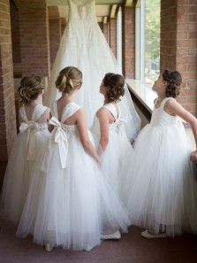 Princess A-Line Square Neck White Tulle Long Flower Girls Dresses with Bow