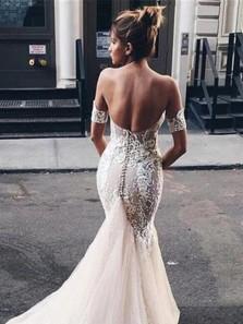 Chic Mermaid Sweetheart Open Back White Tulle Wedding Dresses with Appliques DG0127004