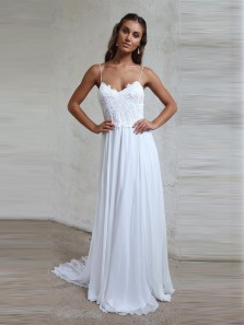 Charming A Line Sweetheart Spaghetti Straps Backless Chiffon White Wedding Dresses with Lace, Fairy Beach Wedding Dresses