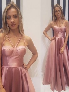 Modern A-Line Sweetheart Open Back Blush Satin Long Prom Dresses with Pockets,Evening Party Dresses 191111011