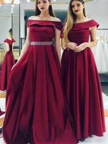 Charming A-Line Off the Shoulder Burgundy Satin Long Prom Dresses with Beaded,Evening Party Dresses
