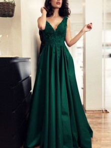 Elegant A-Line V Neck Open Back Dark Green Satin Long Prom Dresses with Appliques,Evening Party Dresses
