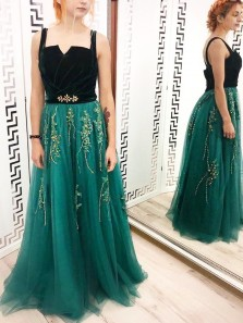 Charming A-Line Square Neck Open back Green Tulle Long Prom Dresses with Appliques,Formal Evening Party Dresses