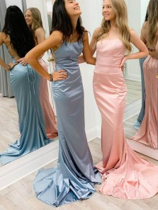 Simple Mermaid Scoop Neck Cross Back Pink Elastic Satin Long Prom Dresses with Train,Evening Party Dresses 2020