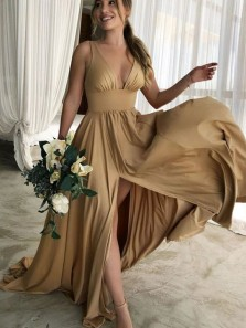 Cheap A-Line V Neck Champagne Satin Bridesmaid Dresses Under 100