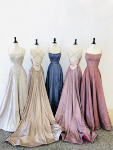 Glitter A-Line Scoop Neck Cross Back Sparkly Satin Long Prom Dresses with Pockets