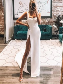 Charming A-Line Sweetheart Straples White Prom Dresses with High Split