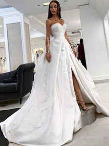 Ball Gown Sweetheart Satin Wedding Dresses with High Split Bridal Gowns