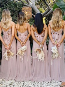 Elegant A-Line Square Neck Spaghetti Straps Dusty Pink Chiffon Long Bridesmaid Dresses with Bow