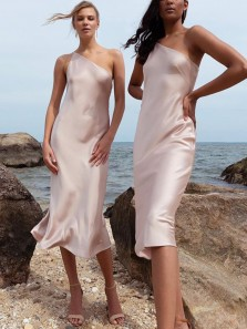 Simple Sheath One Shoulder Champagne Silk Satin Tea Length Bridesmaid Dresses Under 100