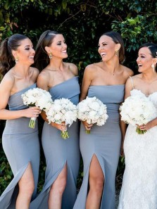 Elegant Mermaid Strapless Open Back Blue Elastic Satin Long Bridesmaid Dresses with Side Split