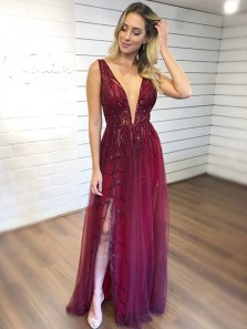 Stylish A-Line V Neck Open Back Burgundy Tulle Long Prom Dresses with Appliques,Charming Formal Party Dresses