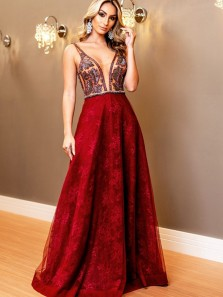Stunning A-Line V Neck Open Back Burgundy Lace Long Prom Dresses,Evening Party Dresses 2019