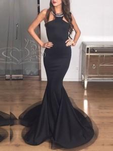 Elegant Mermaid Halter Open Back Black Satin Long Prom Dresses,Evening Party Dresses