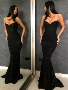 Charming Mermaid Low Cut Spaghetti Straps Open Back Black Sequins Long Prom Dresses,Cheap Formal Party Dresses DG1226001