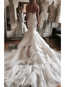 Gorgeous Mermaid Sweetheart Open Back White Organza Wedding Dresses