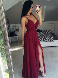 Sexy A-Line V Neck Backless Burgundy Satin Long Prom Dresses with Appliques Split,Evening Party Dresses