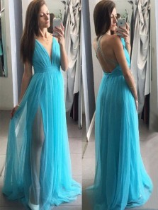 Simple A-Line V Neck Cross Back Lake Blue Tulle Long Prom Dresses with Side Split,Evening Party Dresses