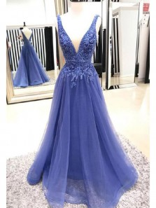 Charming A-Line V Neck Open Back Blue Tulle Long Prom Dresses with Appliques,Formal Prom Dresses