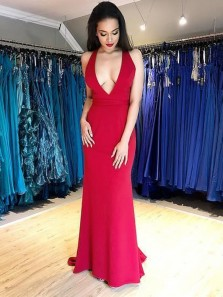 Sexy Sheath Deep V Neck Open Back Red Elastic Satin Long Prom Dresses.Evening Dresses