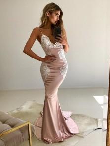 Modest Mermaid V Neck Spaghetti Straps Open Back Blush Satin Long Prom Dresses with White Lace,Formal Evening Dresses