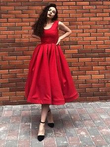 Vintage A-Line Square Neck Open Back Red Satin Tea Length Short Prom Dresses,Cocktail Party Dresses