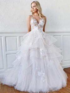 Romantic A-Line V Neck Open Back Tiered White Tulle Long Wedding Dresses