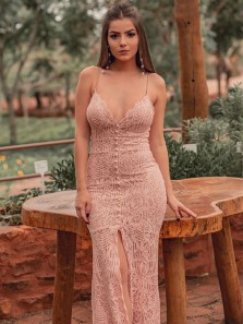 Sexy Mermaid V Neck Spaghetti Straps Open Back Blush Pink Lace Long Prom Dresses,Evening Party Dresses