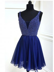 Charming V Neck A-Line Royal Blue Chiffon Short Homecoming Dresses with Beaded,Short Prom Party Dresses DG0917001