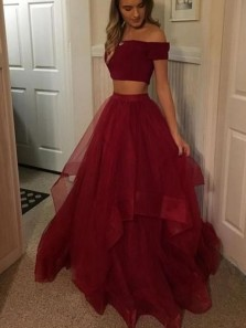 Charming Two Piece Off the Shoulder Open Back Dark Red Tulle Long Prom Dresses,Formal Party Dresses